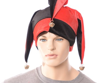 Velvet Jester Hat Red Black with Bells Harlequin Cap Four Point