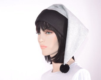 Stocking Cap Black and Gray with Black Fuzz Ball PomPom
