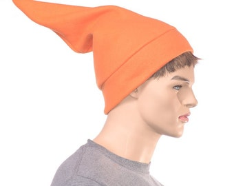 Orange Elf Hat Fleece Pointed Beanie Football Game Cap Dwarf Hat Sock Hat Adult