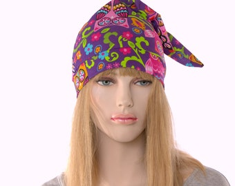 Sleep Hat Whimsical Purple with Owls Pointed Nightcap with Pompom Cotton Adult Unisex Men Women