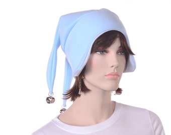 Jester Hat Blue Earflap Cap and Bells 3 Points Man Woman Costume Hat
