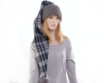 Long Stocking Cap Black Gray Plaid Sherpa Waist Length Pointed Hat Fleece Santa Elf Hat Adult Men Women