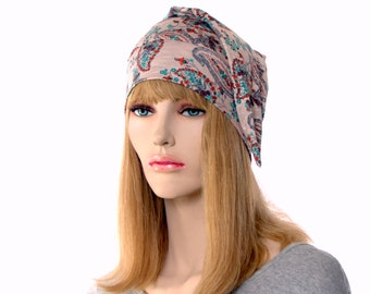 Pointed Nightcap with Tan Paisley Print Silky Feel Unisex Adult Women Men Night Cap Headcover