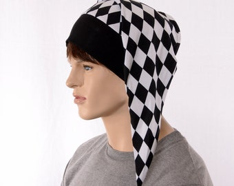 Harlequin Hat Night Cap with Black Pompom Cotton Adult Men Women Jester Cap
