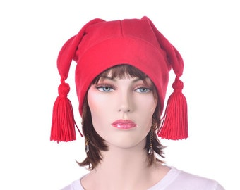 Red Jester Hat with Tassels Three Pointed Mens Womens Fleece Hat Mardi Gras Carnivale