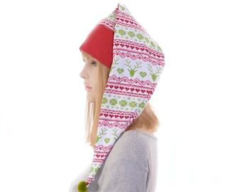 Christmas NightCap Red Green Fair Isle Print Night Cap with Pompom CL Cotton Adult Men Women Holiday Pajamas Cap