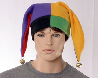 Colorful  Harlequin Cap Costume Jester Hat Two Pointed with Bells Patchwork Fleece Jester Cap