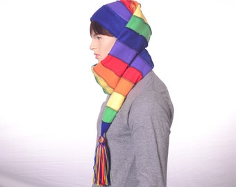 Rainbow Scarf Hat Extra Long Stocking Cap Toboggan Hat 4.5 Foot Long Pointed Hat Women Hat Men Hat Colorful Hat with Tassel Elf Hat