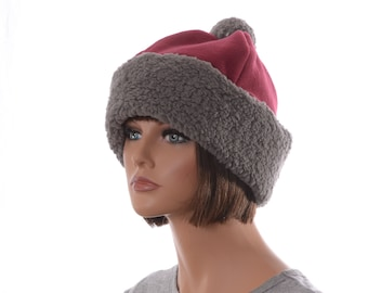 Pompom Beanie Gray Sherpa Burgundy Fleece Body Warm Winter Cap Adult Men Women