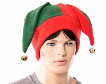 Christmas Jester Hat Red and Green with Gold Bells Jack in the Box Cap Fleece