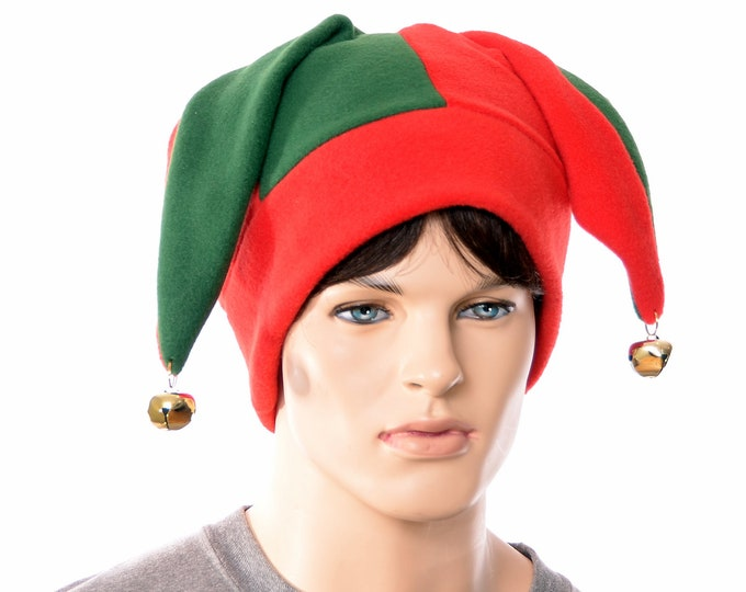 Featured listing image: Christmas Jester Hat Red and Green with Gold Bells Jack in the Box Cap Fleece