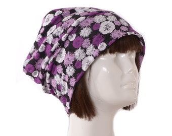Cotton Beanie Slouchy Purple Black White Floral Head Cover