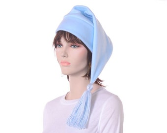 Stocking Cap Light Blue Hat with Tassel Long Elf Hat Mens Women Cap Fleece Adult