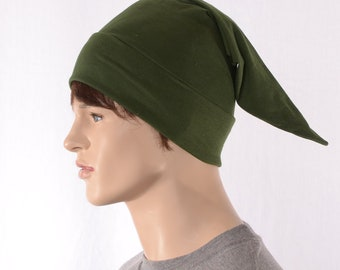 Cotton Sleep Cap Dark Olive Green Traditional Point Nightcap Adult Mens Women Jersey Knit Night Cap Drab Green Elf Hat  Pajama Hat Poor Poet