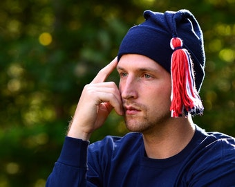 Navy Blue Phrygian Cap Red White Blue Tassel Liberty Cap Fleece Unisex Mens Womens Hat