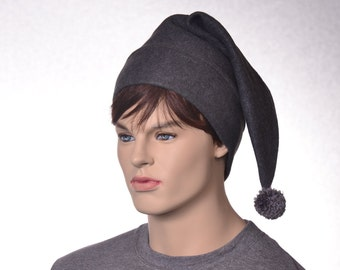 Dark Grey Elf Hat Dark Gray Stocking Cap Charcoal Gray Pointed Beanie with Pompom