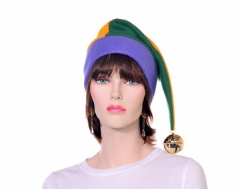 Mardi Gras Hat Stocking Cap Purple Green Gold with Oversized Bell Party Hat Adult