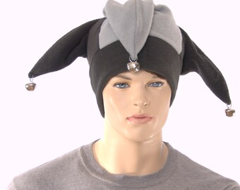 Jester Hat Gothic Black Gray with Silver Bells Fleece Harlequin Cap Fools Hat Three Pointed Beanie 3 Tail Hat