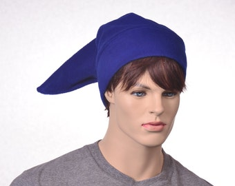 Blue Elf Hat Mens Stocking Cap Blue Fleece Pointed Hat Costume Dwarf Adult