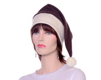 Long Tail Elf Hat Brown and Ivory with Pompom Pointed Stocking Cap Brown Santa Hat Fleece Beanie