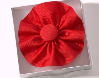 Red Cockade Ribbon Hat Trim Brooch Loyalist Rosette