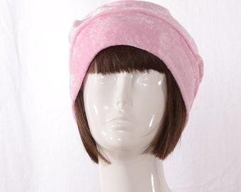 Slouchy Beanie Pink  Boho Style Panne Velvet Head Cover