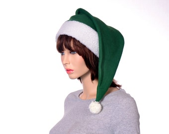 Green Santa Hat Dark Forest Green Sherpa Headband Long Stocking Cap  Gothic Elf Cap Victorian Stocking Hat