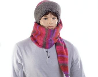 Long Stocking Cap Southwest Sweater Fleece Gray Sherpa Sewn Sweater Knit Scarf Hat 5 Foot Long Tail
