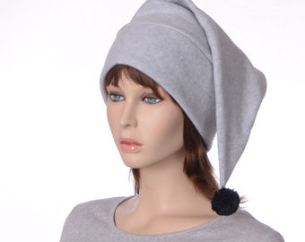 Light Gray Stocking Cap with Black Pompom Pointed Beanie Made of Fleece