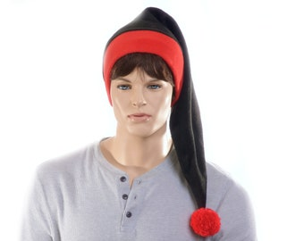 Long Stocking Cap Red Black Fleece Hat Christmas Elf Santa Hat Adult Men Women