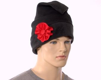 Black Phrygian Cap Made of Fleece With Handmade Red Cockade Liberty Cap