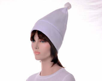 Tall Elf Hat in White Standing Beanie Gnome Hat with Pompom