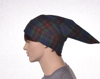Cotton Flannel Night Cap in Green Tartan Plaid Heavyweight Nightcap Adult Mens Women's Sleep Hat Traditional Pointed Nightcap Sleeping Cap
