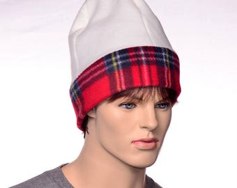 Extra Large Watchman Beanie Cream and Red Plaid Hat for Large Head Plus Sized Hat Jumbo Cap