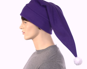 Purple elf hat pointed with bright white pompom shoulder length stocking cap