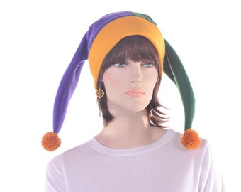 Jester Hat Mardi Gras Harlequin Cap Purple Gold Green Handmade Women Mens