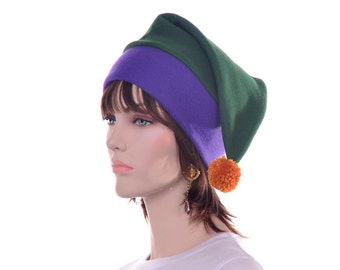 Purple Green Gold Mardi Gras Party Hat Fleece Stocking CapPompom tipped Costume Clown Hat