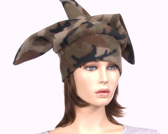 Camo Jester Hat made of Fleece 3 Pointed Harlequin Cap Adult Men Women