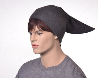 Elf Hat Pointed Tail Dark Gray Short Stocking Cap Costume Hat Charcoal Adult