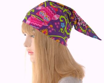 Sleep Hat Purple with Owls Pointed Nightcap with Pompom Cotton Adult Unisex Men Women