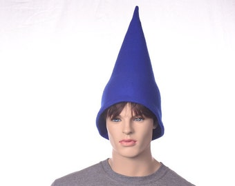 Royal Blue Gnome Hat 15 Inch Tall Pointed Halloween Costume Wizard Cap