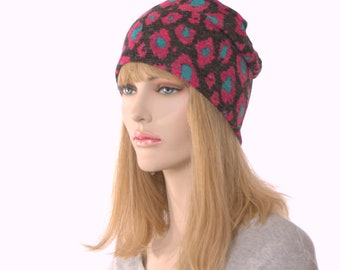 Black Beanie Pink and Turquoise Flowers Lightweight Sleep Cap Womens Nightcap Chemo Hat