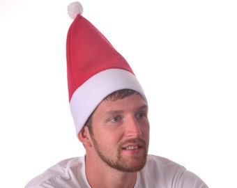 Tall Elf Hat Red White Pom Pom Standing Gnome Christmas Beanie Unisex Adult Costume Hat Mens Womens