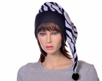 Zebra Stocking Cap Toboggan Long Pointed Hat Fleece Black Brim Pom Pom