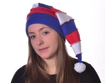 Red White Blue Stocking Cap Long Hat with White Pompom