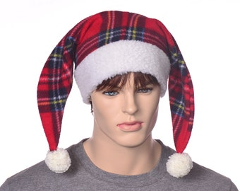 Jester Hat Plaid with Cream White Sherpa Headband Tail Two Pointed Harlequin Cap Adult