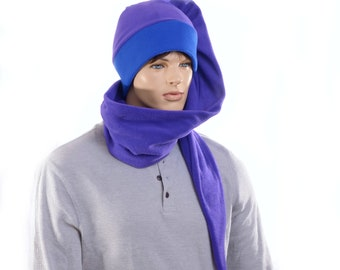 Custom Order for Riley Purple Blue  Cap Long Wrap Around Scarf Hat Fleece With Pompom Stocking Cap