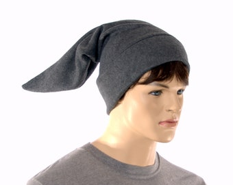 Goth Elf Hat Charcoal Gray Adult Unisex Costume Pointed Stocking Cap Long Fleece Dark Minion