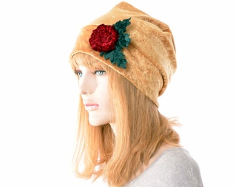 Boho Slouchy Beanie in Panne Velvet with Handmade Rose Cloche Hat