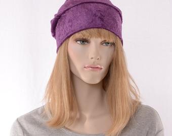 Slouchy Beanie Grape Purple Crushed Panne Velvet Ladies Slouchy Boho Chemo Cap
